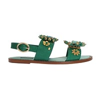 Dolce & Gabbana Green Leather Crystal Sandals