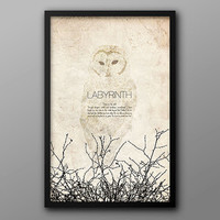 Labyrinth, Vintage Alternative Movie Poster // Movie Quote, Snowy Owl, and Tree Branch Silhouette Print