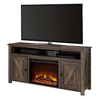 TV Stand Electric Fireplace with Remote in Brown Wood Finish