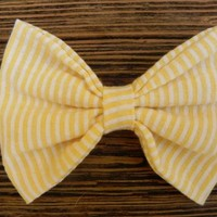 Big summer time stripped yellow bow