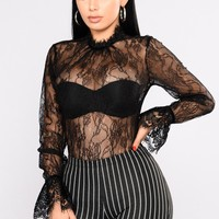 Electric Girl Lace Top - Black