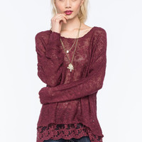 Woven Hearts Lace Trim Womens Slub Sweater Burgundy  In Sizes
