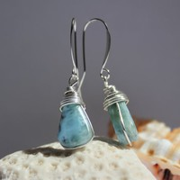 Dominican Blue Larimar Sterling Silver Wire Wrapped Dangle Drop Earrings Atlantis Teardrop stone Beach Fashion Rustic Boho girls women