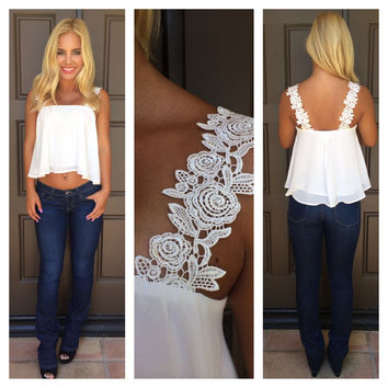 Rose Without A Thorn Crochet Lace Tank - WHITE