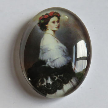 Vintage Victorian Style with Lady Bustle Dress and Red Rose Head Wreath Cameo Tempered Glass Oval Cabochon 40x30mm #C4030-VICTCAM-2 USA
