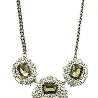Crystal and Jewel Cluster Necklace