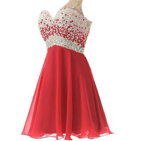 One Shoulder Red Chiffon Beaded Short Prom Dresses