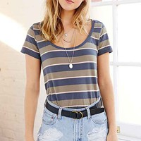 BDG Striped Scoop-Neck Tee- Green Multi