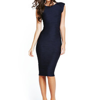 Blue Wave Accent Texture Cap Sleeve Bodycon Midi Dress