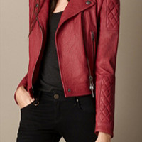 Grainy Leather Quilted Biker Jacket