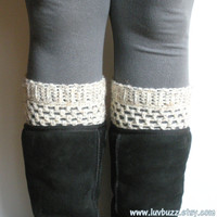 Oatmeal Cream Crochet Boot Cuffs, wool blend, ready to ship.