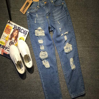 Deep Blue Ripped And Frayed Straight Washed Denim Pants