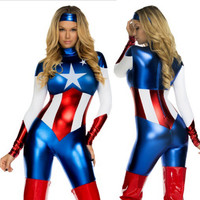 Sexy Captain America Costume Women Halloween Carnival Cosplay Costume Jumpsuit Movie Avengers Lego Adult Captain America Costume