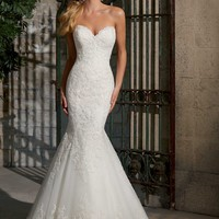 Mori Lee 2713 Lace Fit and Flare Wedding Dress