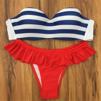 Bikinis Set Swimsuit Tassel Striped Thong Bikini
