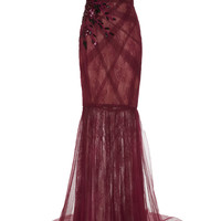 Draped Lace and Tulle Embroidered Gown | Moda Operandi