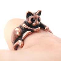 Relaxing Kitty Cat Animal Wrap Around Ring in Copper - Sizes 4 to 9 Available