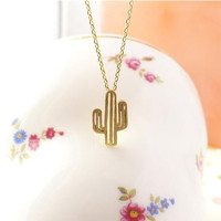 2016 Summer Necklace Minimalist  Desert Prickly Pear Cactus Pendant Necklace for women Party Gift N211