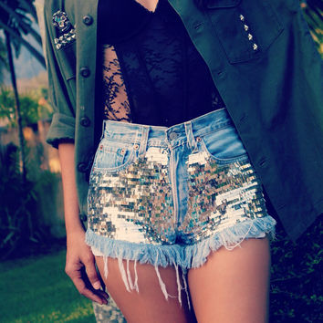 Sparkle silver metallic shorts High waisted sequin denim Hipster Tumblr clothing Custom Made to Order by Jeansonly