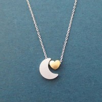 Crescent moon, Tiny, Heart, Gold, Silver, Necklace, Birthday, Best friends, Sister, Gift, Jewelry