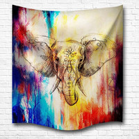 Psychedelic Elephant Wall Hanging Tapestries