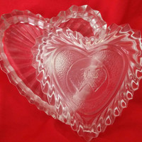 Exquisite Crystal Heart Jewelry Trinket Box Made in Romania
