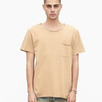 Basic Raw-Cut Short Sleeve Tee in Sand