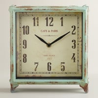 Aqua Square Retro Tilly Tabletop Clock - World Market