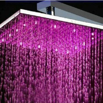 """16"""" Water Power Big Stainless Steel Square 3 Color LED Temperature Sensitive Rainfall Shower Head ,Chrome Finish Ys-1733"""