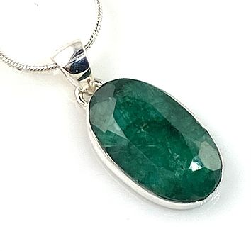 Emerald Sterling Silver Oval Pendant
