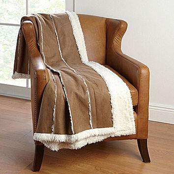 Noble Excellence Sherpa Faux Suede Throw - Tan ONE
