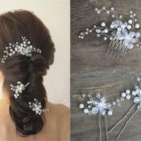 Long hair vine, Bridal hair pins, Floral Hair Comb, Pearl Hairpiece, Wedding headpiece, Bridal Hair Accessory, Bridal Hair Comb, Hair pins