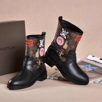 LV One Word With Flat Bottom High Boots Winter