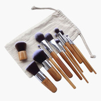 White Complete Set Make Up Brush with Pouch