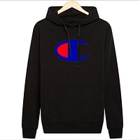 Champion new hooded autumn and winter sweater printing sweater Black