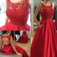 Red Backless Beading A-Line Prom Dresses