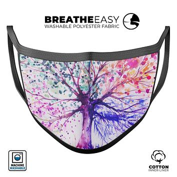 Abstract Colorful WaterColor Vivid Tree V2 - Made in USA Mouth Cover Unisex Anti-Dust Cotton Blend Reusable & Washable Face Mask with Adjustable Sizing for Adult or Child