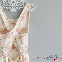 SALE - Backless Cross Back floral dress Sexy spring summer dress Cross back simply pleated dress Small