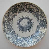 Antique Aesthetic Movement Blue Transferware Candy Bowl Dish Aesthetic Transferware - Mountain and Lake Scenery - Cattails - Ideal Grindley