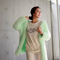 New candy color sweater knitting fuzzy bats loose cardigan knitting coat tops