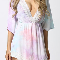Bohemian V-Neck Printed Lace Dress