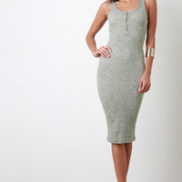 Marled Ribbed Knit Midi Dress