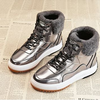 New fur one-piece anti-skid real soft leather warm and velvet thick ankle boots shoes