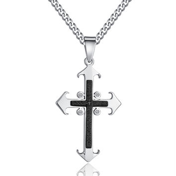 Stainless Steel Cross W. Lord's Prayer in English and CZ Pendant Necklace
