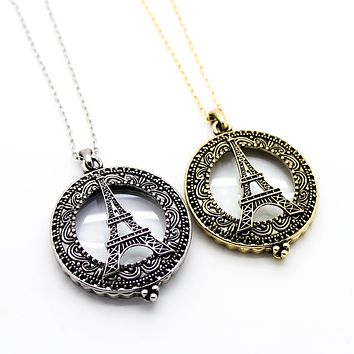 Eiffel Tower magnifying glass necklace