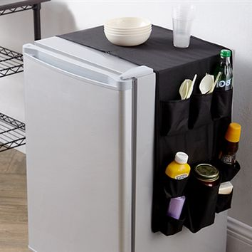 Essential Over the Fridge Double Sided Black Cookin Caddy Multi-Pocket Dorm Storage College Items Organizer