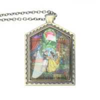 Disney Beauty And The Beast Stained Glass Necklace
