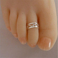 Silver Plated Zinc Alloy Adjustable Size Finger Rings Toe Ring For Women