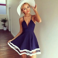 Aliexpress.com : Buy 2015 Robe Femme Cute Dresses Cheap Clothing China Sexy Deep V Neck Mesh Chiffon Stitching Short Navy Blue Women Beach Dress ZDD from Reliable d payment suppliers on Love. Angel   Alibaba Group