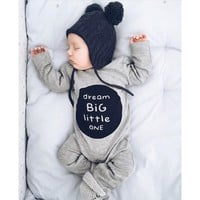 MUQGEW New Brand Baby Rompers Long Sleeves Newborn Infant Baby Boy Girl Long Sleeve Letter Romper Jumpsuit Clothes Outfits
